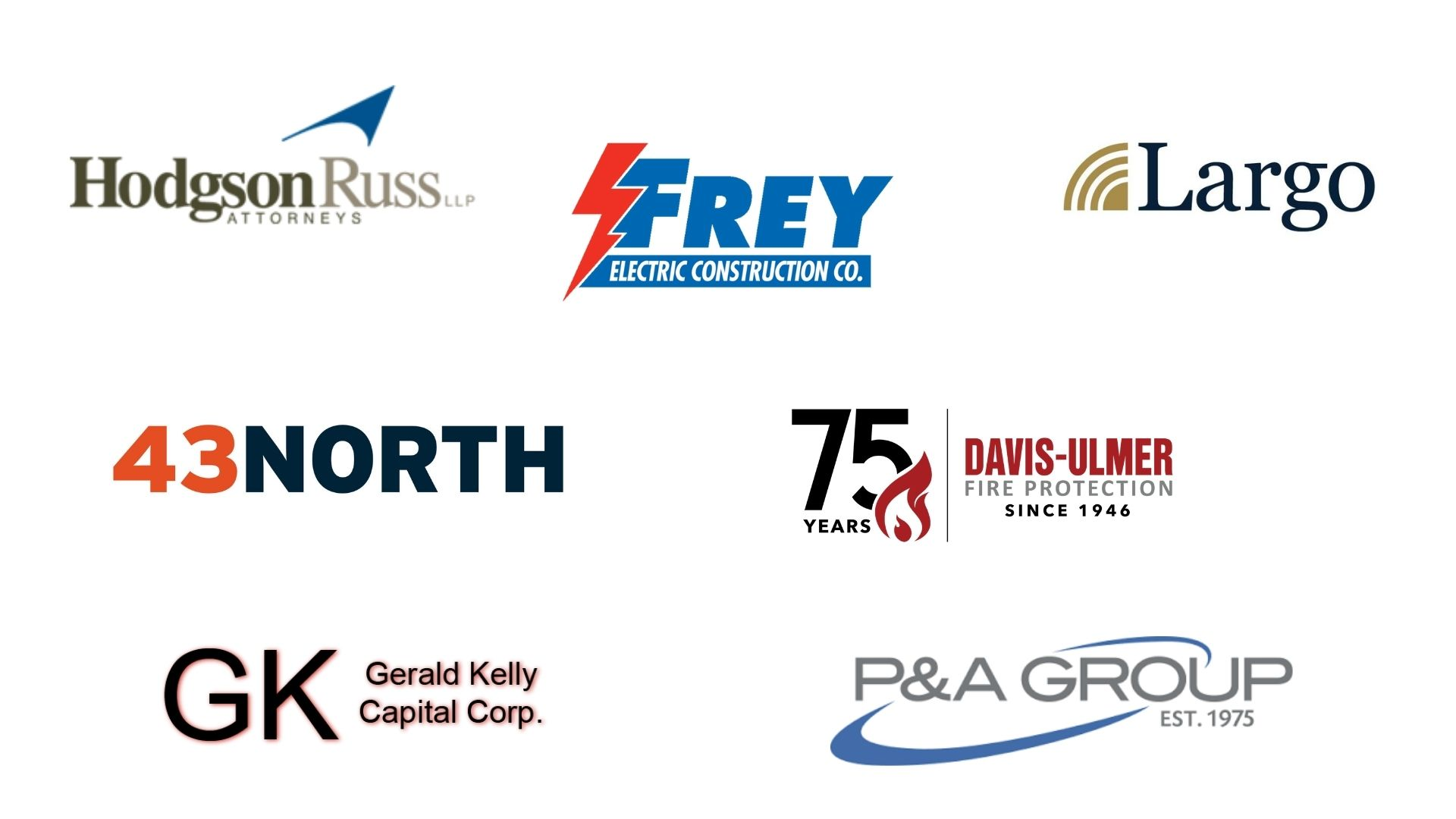 Image contains the logos of local businesses - Hodgson Russ, Frey Electric Construction, Largo Capital, 43 North, Davis-Ulmer Fire Protection, Gerald Kelly Capital, and P&A Group
